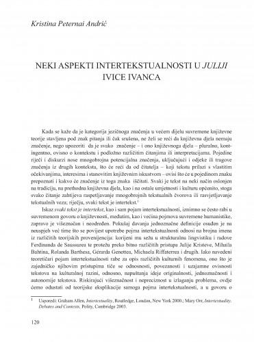Neki aspekti intertekstualnosti u Juliji Ivice Ivanca : Krležini dani u Osijeku