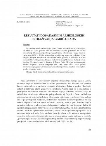 Rezultati dosadašnjih arheoloških istraživanja Garić-grada : Radovi Zavoda za znanstvenoistraživački i umjetnički rad u Bjelovaru