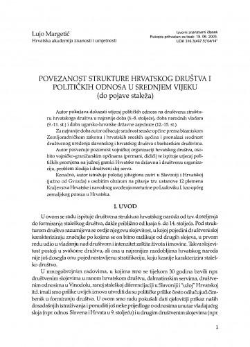 Povezanost strukture hrvatskog društva i političkih odnosa u srednjem vijeku (do pojave staleža)
