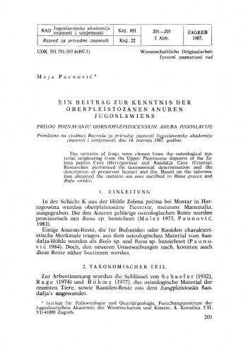 Ein Beitrag zur Kenntnis der oberpleistozänen Anuren Jugoslawiens