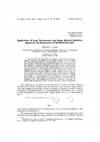 Application of lead tetraacetate and some related oxidative agents for the preparation of modified steroids