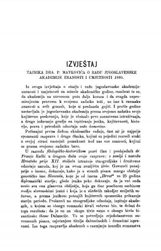 Izvještaj tajnika dra P. Matkovića o radu Jugoslavenske akademije znanosti i umjetnosti 1880. : RAD