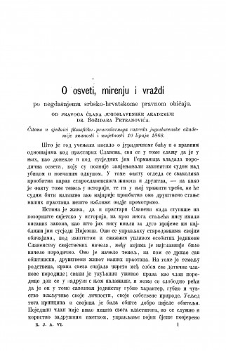 O osveti, mirenju i vraždi po negdašnjemu srbsko-hrvatskome pravnom običaju : RAD