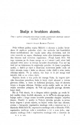 Studije o hrvatskom akcentu : RAD