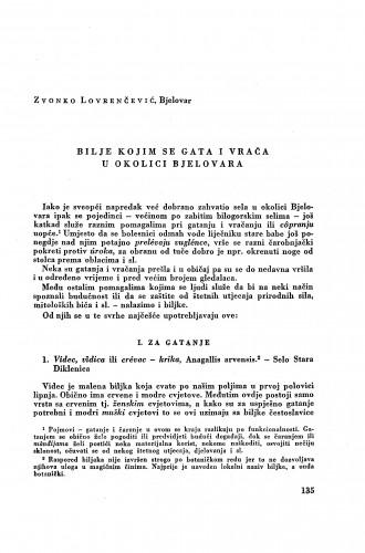 Bilje kojim se gata i vrača u okolici Bjelovara / Z. Lovrenčević