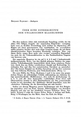 Über eine Sondergruppe ungarischen Klagelieder / B. Rajeczky