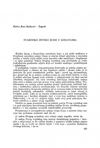Starinsko žensko ruho u Konavlima / K. Benc-Bošković