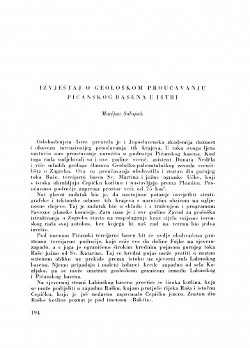 Izvještaj o geološkom proučavanju Pićanskog basena u Istri / M. Salopek