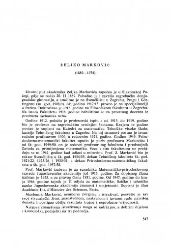 Željko Marković (1889-1974) : [nekrolozi] / Z. Janković