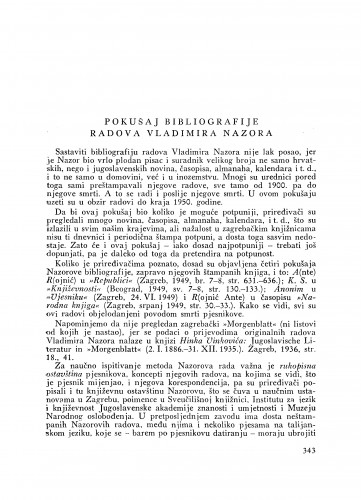 Pokušaj bibliografije radova Vladimira Nazora : [nekrolog] / M. Despot i J. Ravlić