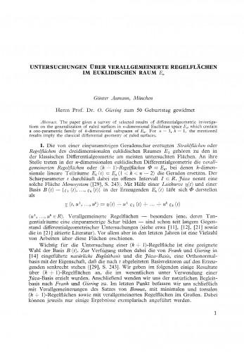 Untersuchungen ueber verallgemeinerte Regelflächen im euklidischen Raum En