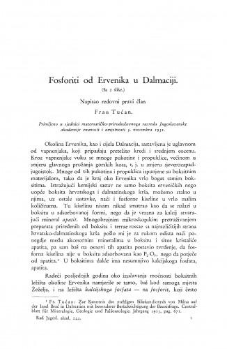 Fosforiti od Ervenika u Dalmaciji