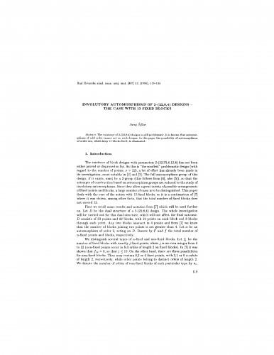Involutory automorphisms of 2-(22,8,4) designs