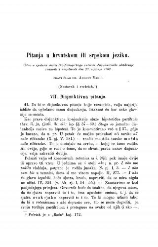 Pitanja u hrvatskom ili srpskom jeziku