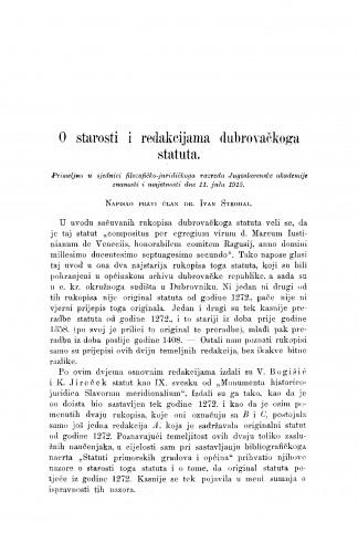 O starosti i redakcijama dubrovačkoga statuta