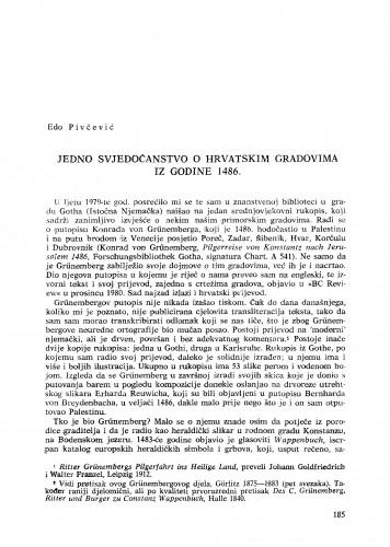 Jedno svjedočanstvo o hrvatskim gradovima iz godine 1486.