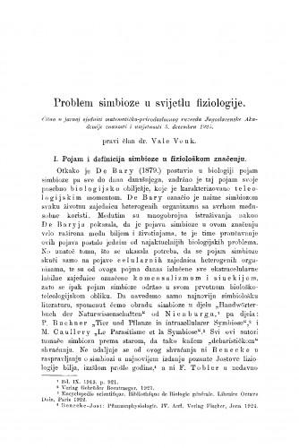 Problem simbioze u svijetlu fiziologije