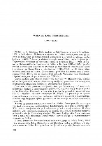 Werner Karl Heisenberg (1901-1976) : [nekrolozi] / G. Alaga