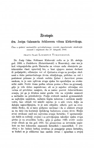 Životopis dra Josipa Calasancia Schlossera viteza Klekovskoga