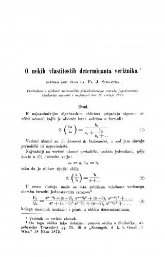 O nekih vlastitostih determinanta verižnika
