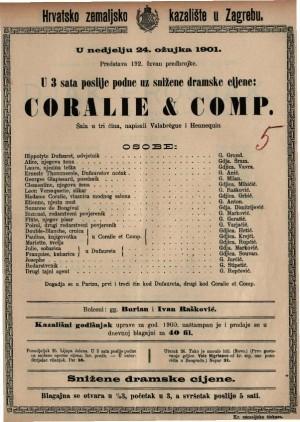 Coralie & comp. šala u tri čina / napisali Valebrègue i Hennequin