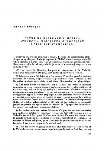 Osvrt na raspravu V. Molina