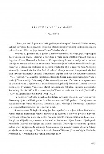 František Václav Mareš : (1922.-1994.) / Anica Nazor