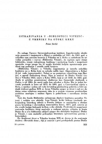 Istraživanja u Biblioteci Vitezić u Vrbniku na otoku Krku / P. Strčić