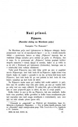 Frjanovo : (narodni običaji na Murskom polu) / V. Habjanić