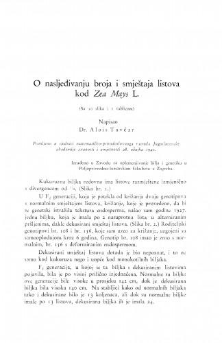 O nasljeđivanju broja i smještaja listova kod Zea Mays L.