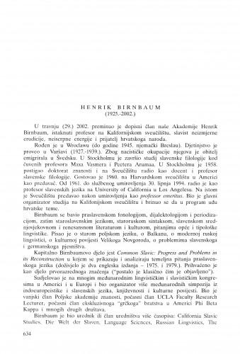 Henrik Birnbaum (1925.-2002.) : [in memoriam] / Anica Nazor
