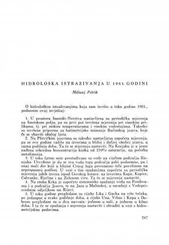 Hidrološka istraživanja u 1961. godini / M. Petrik