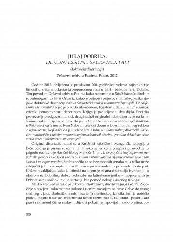 Juraj Dobrila, De confessione sacramentali (doktorska disertacija), Državni arhiv u Pazinu, Pazin, 2012. : [prikaz] : Problemi sjevernog Jadrana