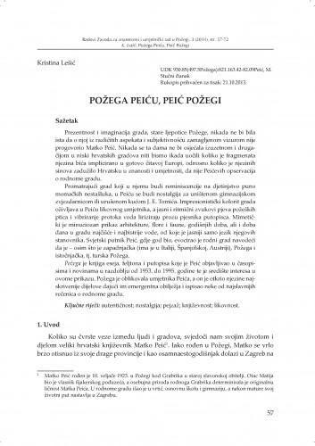 Požega Peiću, Peić Požegi : Radovi Zavoda za znanstveni i umjetnički rad u Požegi