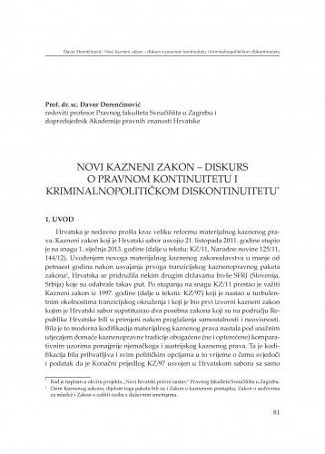 Novi kazneni zakon - diskurs o pravnom kontinuitetu i kriminalnopolitičkom diskontinuitetu : [izlaganje] : Modernizacija prava