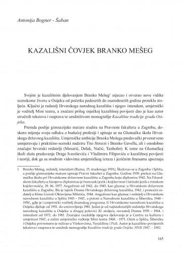 Kazališni čovjek Branko Mešeg : Krležini dani u Osijeku