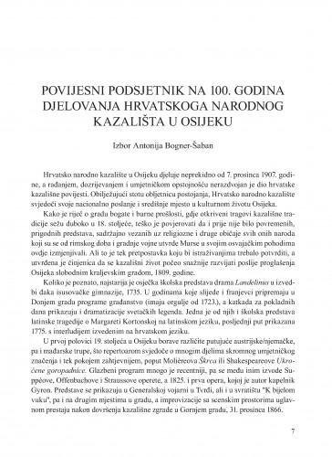 Povijesni podsjetnik na 100. godina djelovanja Hrvatskoga narodnog kazališta u Osijeku : Krležini dani u Osijeku