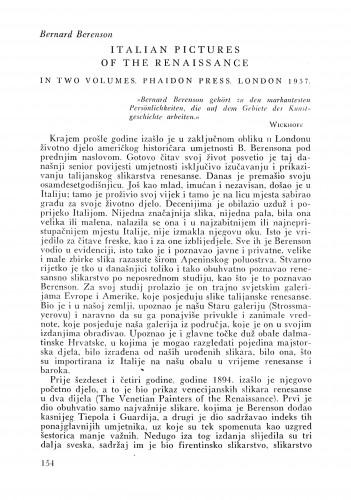 Bernard Berenson: Italian pictures of the Renaissance 1957. : Bulletin Instituta za likovne umjetnosti Jugoslavenske akademije znanosti i umjetnosti