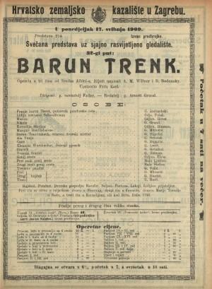 Barun Trenk Opereta u tri čina / od Srećka Albinia