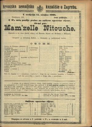 Mam'zelle Nitouche : Opereta u 3 čina (4 slike) / od Hervéa