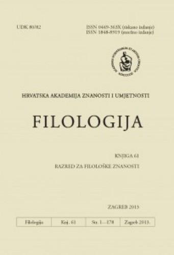 Knj. 61(2013) : Filologija : časopis Razreda za filološke znanosti Hrvatske akademije znanosti i umjetnosti