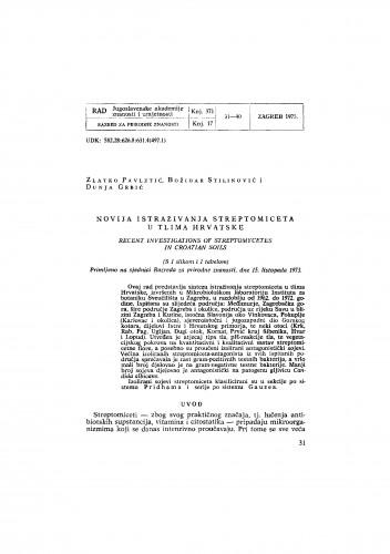 Novija istraživanja streptomiceta u tlima Hrvatske