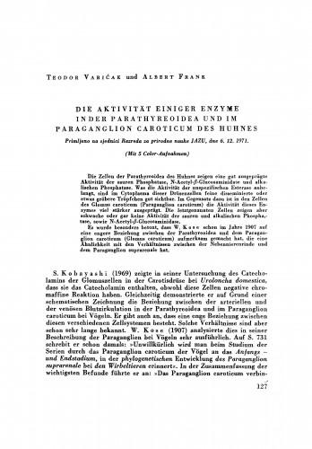 Die Aktivität einiger Enzyme in der Parathyreoidea und im Paraganglion caroticum des Huhnes