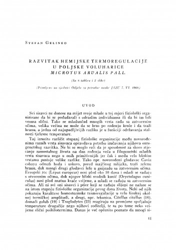 Razvitak kemijske termoregulacije u poljske voluharice Microtus arvalis Pall