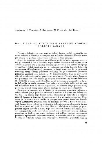 Dalji prilog etiologiji zarazne vodene bolesti šarana