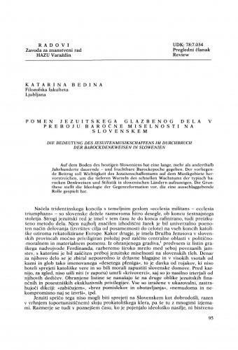 Pomen jezuitskega glazbenog dela v preboju baročne miselnosti na Slovenskem : Radovi Zavoda za znanstveni rad Varaždin