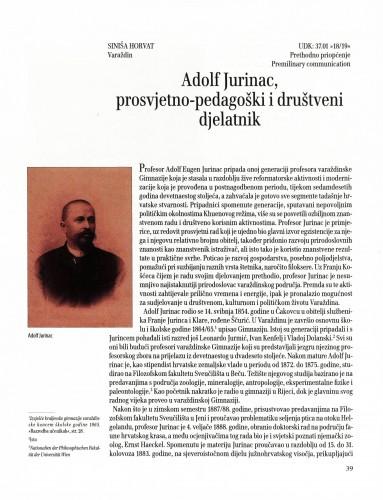 Adolf Jurinac, prosvjetno-pedagoški i društveni djelatnik