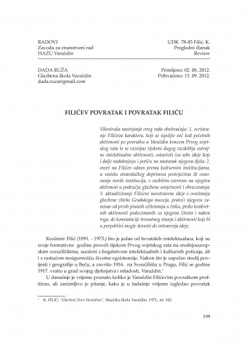 Filićev povratak i povratak Filiću : Radovi Zavoda za znanstveni rad Varaždin