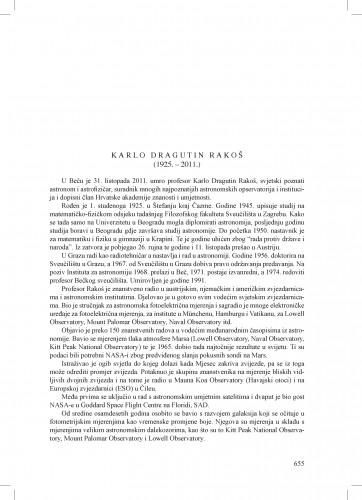 Karlo Dragutin Rakoš (1925.-2011.) : [nekrolog] : Ljetopis
