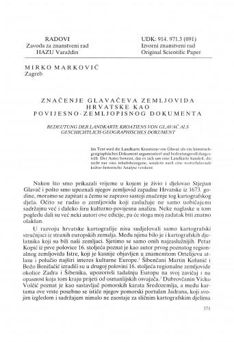 Značenje Glavačeva zemljovida Hrvatske kao povijesno-zemljopisnog dokumenta : Radovi Zavoda za znanstveni rad Varaždin